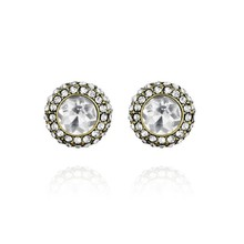 Model Simple Style Girl's Round Shape Crystal Rhinestone Earrings Stud