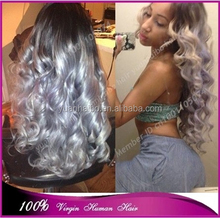 7a quality 1b/grey# brazilian virgin hair silver grey ombre loose wave front lace wig