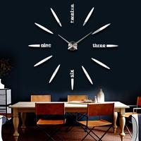 2015 Popular DIY Large Wall Clock 3D Mirror Surface Sticker Home Office Decor Large Wall Clock