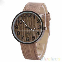 wooden grain leather bands/strap and dial/face alloy case retro nice looking cheap watch 2015 hot style big face popular watches