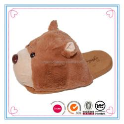 New design ladies brown bear plush stuffed slippers