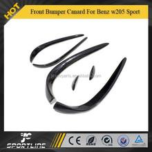 Carbon Fiber Front Bumper Canard 6pcs For Mercede s Ben z w205 2014 C-Class C200 C180 C260 Sport