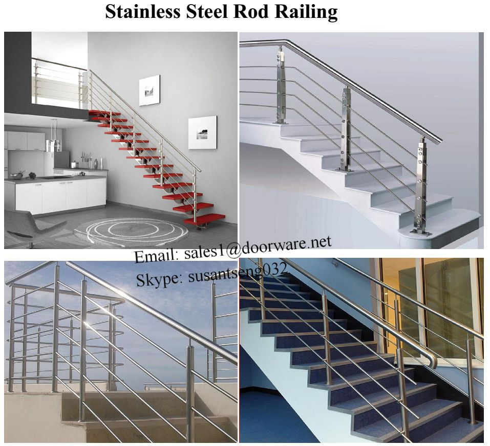 Design modern stainless steel outdoor handrail metal stair for Exterior balcony railing design