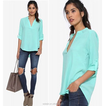 Roll up sleeve ladies fashion chiffon blouse 2015,peasant blouse