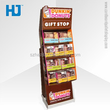 Template packing free sample paper display counter, cardboard pallet display racks carton gift/chocolate/coffee beans stand