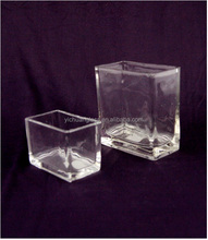 Machine Pressed Cube / square shpe Brightly Clear glass vase/ Wax Glass for home decoration
