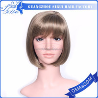 Short cut fashion bob lady's party wig, heat resistant synthetic wigs hair, wholesale price caucasian wigs
