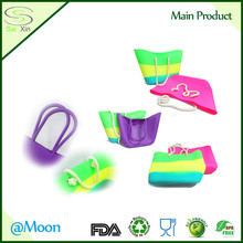 Rubber waterproof outdoor beach bean bag, fashion silicone shopping bag, Silicone Ladies shopping bags