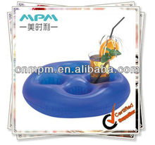 hot sale PVC promotion gift,Inflatable round drink holder with 4 holes, inflatable chair cup holder