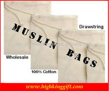 Wholesale 100% Muslin Cotton Drawstring Bag