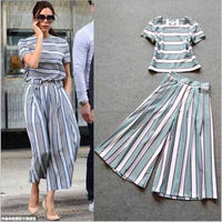 tops and wide leg pants striped pictures of ladies suits designs