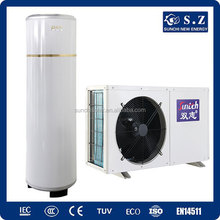 CE,CB,TUV,EN14511 domestic home using 220V 3kw,5kw,7kw,9kw R410A outlet 60deg.C DHW, COP4.28 split inverter heat pump tankless
