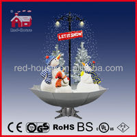 Smart Christmas Snowmen Village sparking Led, Snowing Christmas Snowman Family with umbrella base with LED lights and tree