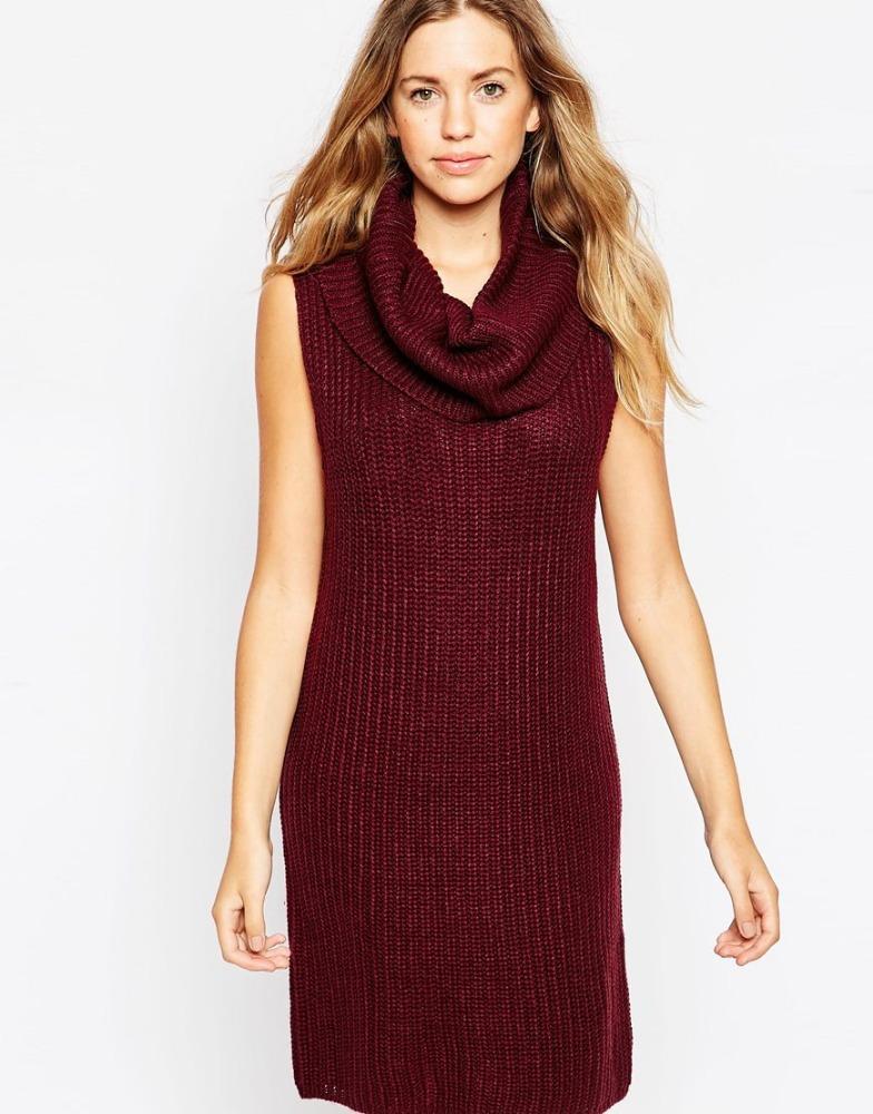 Christmas sweater dress cowl neck jumper dress knitting pattern