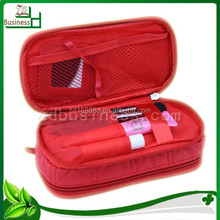 fashion Factory hot sell red pu quilted double layer korean cosmetic bag with mirror inside
