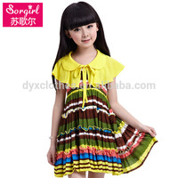 Newest Design The rayon fabric girls dress ruffled baby girl summer dress pakistan fashion girls dress fall 2015