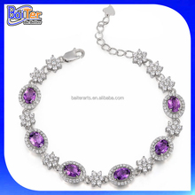 Custom 925 Sterling Silver Amethyst And Pave Diamond Halo Amethyst Bracelet