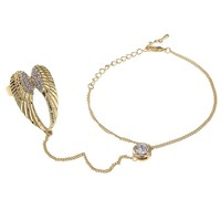 High-quality angel wings ring! You can adjust the size of the gold / silver alloy bracelets rings diamonds