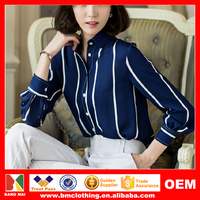 2015 Latest Summer Polo Collar Hit Color Casual Blouse Women Loose Long Sleeve Chiffon Style T-shirt/Blouse OEM Survice