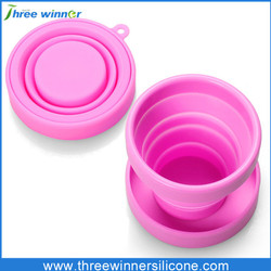 Portable folding silicone cup with lid for travel