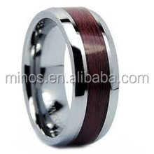 wholesale Fashion Jewelry Wood Ring New Style Stainless Steel Comfort Fit Band Ring