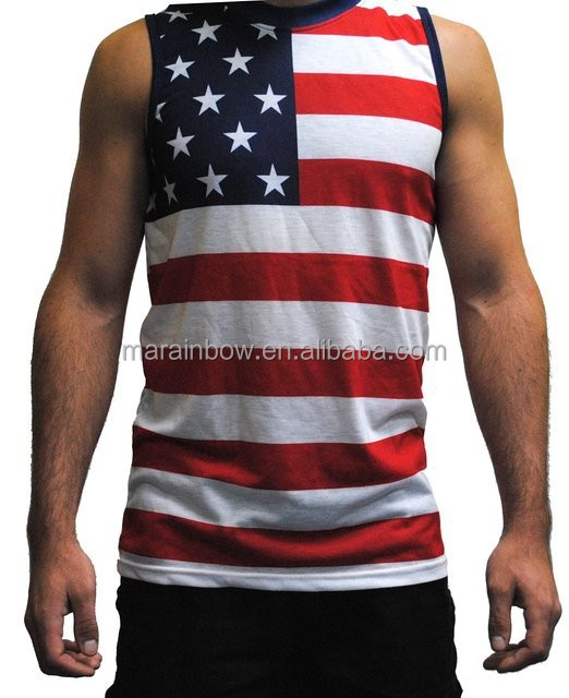 Wholesale mens sublimation printed usa stars stripes for American apparel custom t shirt printing