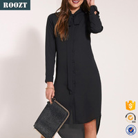 Fashion Black Chiffon Long Sleeve Shirt Dresses for Women
