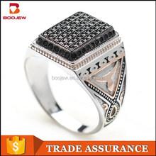 vintage black cz stone 925 silver ring