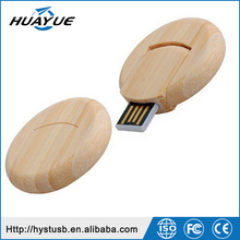 Bulk Gift Items UDP Chip Flash Round Plate 3.0 /2.0 Wooden USB Drive with Key Ring