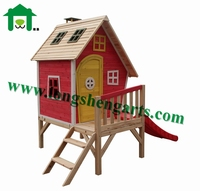 Children Wooden Playhouse with Slide