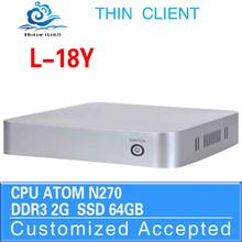 Computer intel N270 2G RAM 64G SSD Window 8.1 Fan Thin Client Mini PC 1.8Ghz Desktop Computer