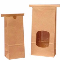 Wholesale heat seal Food Industrial Use kraft French bread food packaging paper bag with clear window
