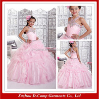FG-136 Ball gown girl dresses pink long ball gowns for kids for cheap with sleeveless