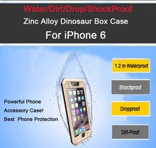For outdoor swimming,diving and Zinc Alloy Dinosaur box waterproof case for iphone 6 waterproof case/cover case for iphone 6
