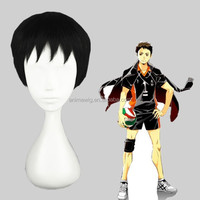 High Quality 30cm Short Haikyuu!!-sawamura daichi Black Synthetic Anime Lolita Wig Cosplay Costume Hair Wig Party Wig