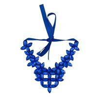 2015 new European and American big rhinestone satin cloth false collar necklace blue crystal necklace luxury