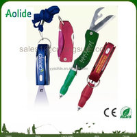 multi function ballpoint pen light with knife and key chain can print LOGO
