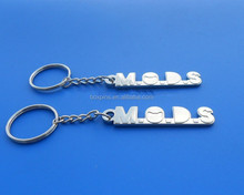 Cut out M O D S letters silver key rings, Hot sale letters key chain