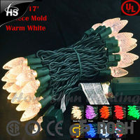 Commercial Grade 50 LED C6 Strawberry Christmas Lights on 17' Green Wire