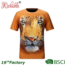 BSCI Richable Custom 100% Polyester 3D Sublimation Printed Logo Men's Animal T shirt
