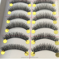 10mm long 10 pairs/lot upper womens eyelashes beauty supply taiwan false eyelashes
