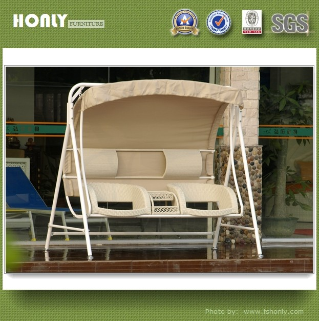 Outdoor swing chair wrought iron patio swing chair with canopy