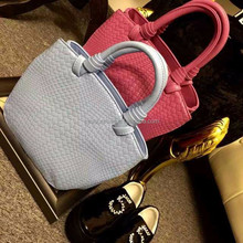 "model no.3818 ""15% off with this flyer hot selling women knit single shoulder pu leather weave bags """