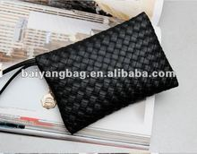 Hot Selling woven PU leather ladies clutch bag