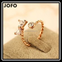 2015 New Trendy Mirco Insert Zircon Ring Real Golden Plated Bowknot Open Ring