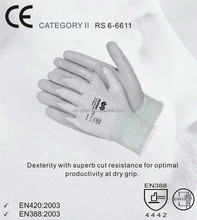 Firm grip gloves, supported dipping PU glove in 13gm HPPE shell