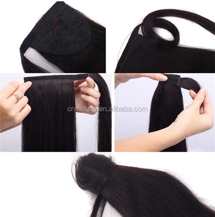 Woman Ladies Long Straight Pony Tail Drawstring Easy Clip In Hair