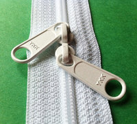 8 Inch 4.5mm YKK Zippers Color 501 WHITE with Two Long Pull Head to Head Sliders nylon zippers