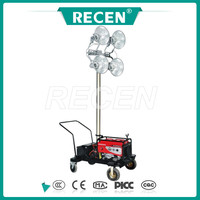 50m remote control 4*400w MH/HPS Mobile generator light tower, portable lighting tower generator