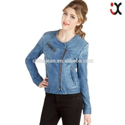 2015 Newly Washed Selling lady OEM jacket cotton zipper denim garment (JXW1515)
